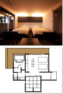 くぬぎ -KUNUGI- - -都会的なベッドルームとモダンな和室。風呂上りはバルコニーで涼む。