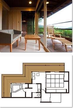 由布岳のロケーションが抜群な客室タイプ。シンプルな和室を完備しています。